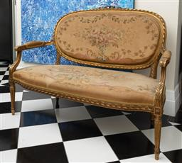 Sale 9248H - Lot 246 - An antique French canapé with Aubusson tapestry upholstery and carved and gilded frame. Width 134cm