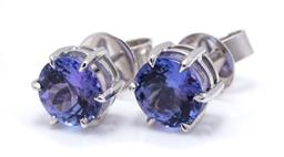 Sale 9253J - Lot 315 - A PAIR OF 18CT WHITE GOLD STONE SET STUD EARRINGS; each claw set with a round cut tanzanite, 2 total approx. 2.53ct, width 7.3mm, wt...