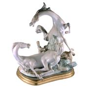 Sale 8000 - Lot 59 - A Lladro equestrian group of two horses, impressed marks. Reference no. 366.