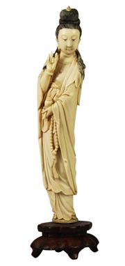 Sale 8040 - Lot 37 - Ivory Carved Figure of a Lady