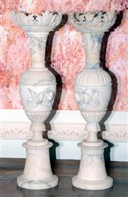 Sale 8048A - Lot 25 - A pair of Italian antique turned and carved alabaster vases. 61 (h)