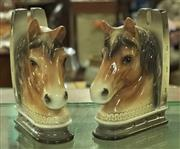 Sale 8320 - Lot 917 - 1960s Pair of ceramic horsehead and horseshoe bookends