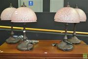 Sale 8312 - Lot 1006 - Set of Four Glass Shade Table Lamps
