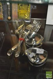 Sale 8407T - Lot 2429 - Silver Plated Forks with a Set of 4 Candlesticks