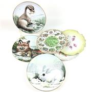 Sale 8545N - Lot 186 - A Collection of Cabinet Plates including Staffordshire's 'Wildlife in Winter'