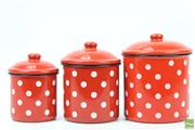 Sale 8626 - Lot 46 - Graduated Enamel Kitchen Canisters (3)