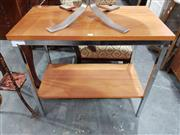 Sale 8872 - Lot 1032 - Knowle Teak Two Tier Table with Chrome Frame