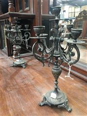 Sale 8882 - Lot 1086 - Pair of French Brass Candelabra, each with four arms & five sconces, on turned shaft