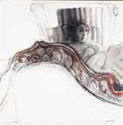Sale 9013 - Lot 580 - Margaret Woodward (1938 - ) - Reading in Bed 119.5 x 119.5 cm (frame: 140 x 140 x 6 cm)