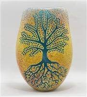 Sale 9031H - Lot 3 - Gold Tree of Life hand blown & engraved flat Vase by Sean ODonoghue, Noosa Master Glassblower, trained at Waterford Crystal. H18cm...