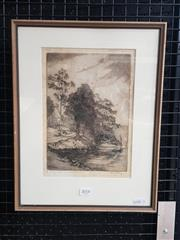 Sale 9036 - Lot 2018 - Bruce Robertson  Bend of the Road, Church Point Pittwater dry point etching (AF - foxing) ed. 7/95, 40 x 31cm (frame) signed lower...