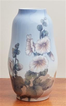 Sale 9099 - Lot 122 - A Royal Copenhagen vase decorated with flowers. Height 31cm