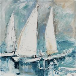 Sale 9116 - Lot 513 - Cheryl Cusick Setting Sail acrylic on canvas 101.5 x 102 cm signed lower right, titled verso