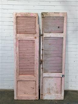 Sale 9151 - Lot 1481 - Pink shabby chic shutter door and a similar example - some damage - 205 (h207 x w58cm)