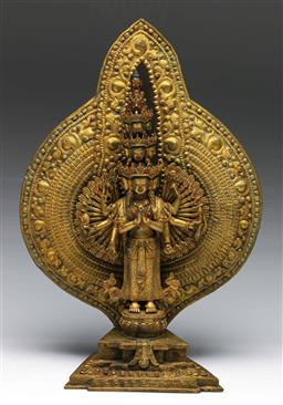 Sale 9175 - Lot 14 - Chinese Gilt Bronze Standing One Hundred Arms Guanyin Figure With An Aura, H:38cm