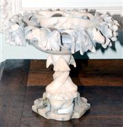 Sale 8048A - Lot 26 - An antique Italian carved alabaster fish pedestal. 22 (h)