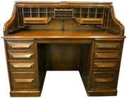 Sale 8258A - Lot 95 - Cutler roll top desk in Oak, excellent condition, professionally restored 1980s, complete, circa 1900, RRP $3650, W135 x D77.5 x H11...