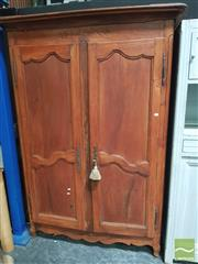 Sale 8444 - Lot 1011 - Antique Style French Beech & Cherry Armoire, with two shaped panel doors (key in office)