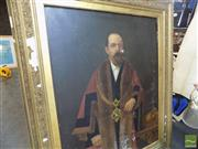 Sale 8461A - Lot 2031 - Early C20th School - Portrait of an Office Bearer with Chain 126 x 101cm