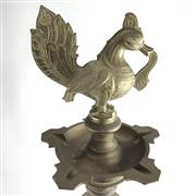 Sale 8699A - Lot 706 - Indian Brass Floor Standing Ashtray with bird finial, height 100cm