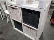 Sale 8740 - Lot 1141 - Modern Timber Chest of Four Wicker Drawers
