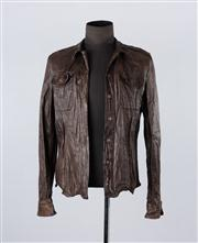 Sale 8770F - Lot 88 - An All Saints A/W 2008 Lorrimer Shirt leather jacket in dark brown, size large