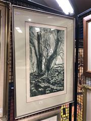 Sale 8779 - Lot 2021 - Marion Purvis - River Gum, aquatint & etching, 74 x 52cm (frame size), signed lower right