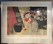 Sale 8784 - Lot 2010 - Reni Louis - Still Life with Flowers and Strawberries, colour lithograph, 72cm x 88 cm (frame)