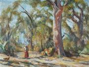 Sale 8838A - Lot 5010 - Joshua (William) Smith (1905 - 1995) - An Australian Bush Scene with Figure and Dog 47 x 62.5cm