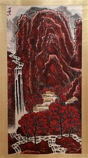 Sale 8951S - Lot 1 - Chinese Scroll of a Village in a Mountainous Landscape, Ink and Colour on Paper