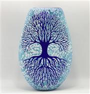 Sale 9031H - Lot 52 - Blue Tree of Life handblown & engraved flat Vase by Sean ODonoghue, Noosa Master Glassblower, trained at Waterford, H 21cm x W 14cm...