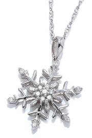 Sale 9031H - Lot 85 - A STERLING SILVER SNOWFLAKE DIAMOND PENDANT NECKLACE; 15mm wide pendant set with single and baguette cut diamonds totalling 0.10ct.