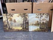 Sale 9061 - Lot 2069 - T. Ramsay (two works) Gumtrees & House by a Lake, oil on board, (unframed, A/F-foxing), 49 x 66 cm each, both signed lower right -