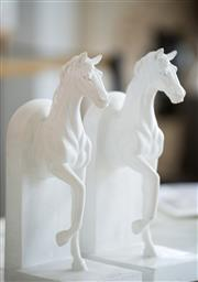 Sale 9075T - Lot 41 - A pair of white half horse bookends in a composite.  H: 27x W: 12.5x D:9.5