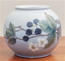 Sale 9099 - Lot 123 - A Royal Copenhagen round vase decorated with flowers and blackberries, Height 14cm