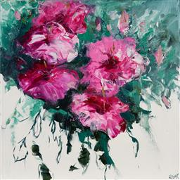 Sale 9125 - Lot 550 - Cheryl Cusick Hibiscus acrylic on canvas 101.5 x 102 cm signed lower right, titled verso