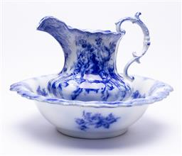 Sale 9185E - Lot 120 - A blue and white ceramic Harley wash jug and basin by W.M Grindley & Co, basin Width 45cm