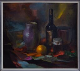 Sale 9190H - Lot 397 - Latvian school, still life with wine and marmalaid, 71cm x 80cm, monogrammed Lower right, oil on board