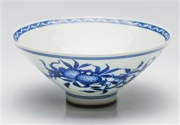 Sale 9253 - Lot 25 - A bat and fruit decorated blue and white Chinese bowl (Dia:17cm)