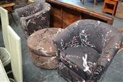 Sale 8013 - Lot 1450 - Pair of Tub Chairs and Ottoman