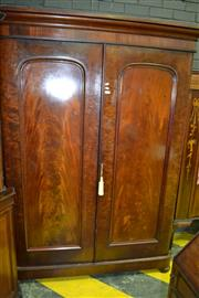 Sale 8093 - Lot 1800 - Victorian Flame Mahogany Wardrobe fitted with Drawers & Slides (key in office)