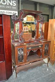 Sale 8093 - Lot 1791 - Mahogany Parlour Cabinet with Glass Doors & Mirrored Back