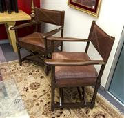 Sale 8205 - Lot 7 - A pair of director's chairs with timber and leather crocodile print upholstery, and metal hardware by Stiles Brothers, est 1838
