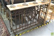 Sale 8299 - Lot 1099 - Marble Top Consol Table on Iron Base