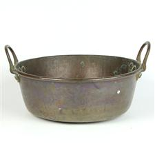 Sale 8351A - Lot 29 - Vintage French Copper Preserving Pan diameter 35cm depth 15cm(approx weight 2.5kg)