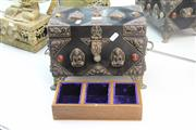 Sale 8311 - Lot 20 - Metal Overlay Jewellery Chest with Stone Inlay On Claw Feet