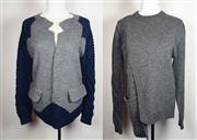 Sale 8460F - Lot 38 - A Gasparre Cashmere wool/cashmere blend grey shaped cardigan with navy knitted arms, M, together with an asymmetrical wool blend gre...