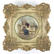Sale 8545N - Lot 7 - Antique Austrian Framed Bowl - frame 40cm x 40cm
