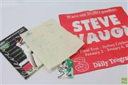 Sale 8618 - Lot 19 - Cricket Signed Items - Steve Waugh card signed with Final Test red rag, Australia 1953 page signed Harvey, Hassett, Morris Benaud, M...