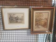 Sale 8659 - Lot 2124 - 2 Watercolours by the Same Artist Unknown - Riverbank Scenes, signed